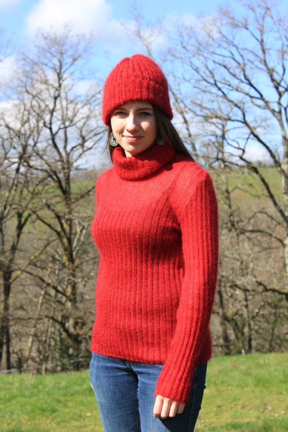 Pull et bonnet mohair made in France - La Ferme de Siran