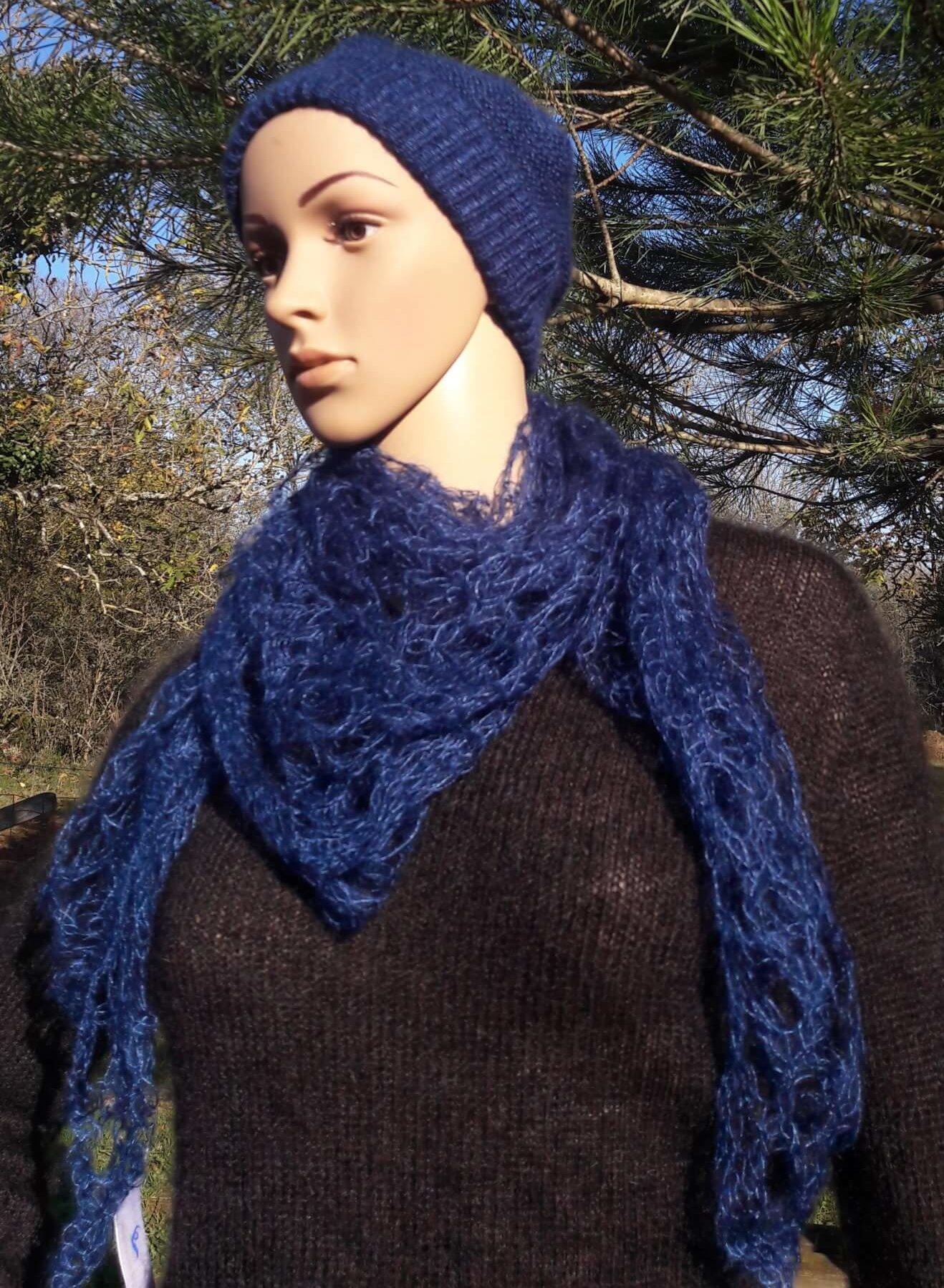 carré+tricoté+mohair+bleu